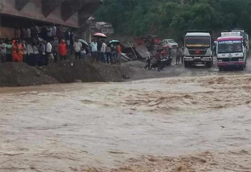 Flood obstructs vehicular movement in Dang