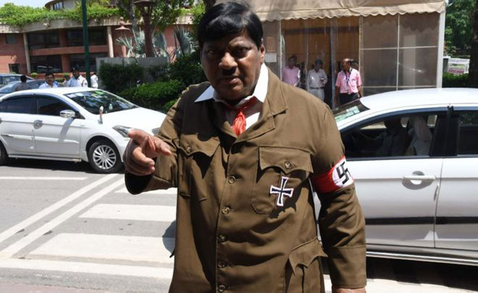 India MP shocks with Hitler costume protest in parliament