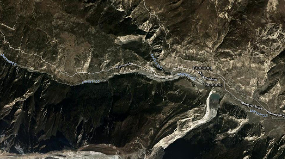 Landslides and floods obstruct three road sections in Manang