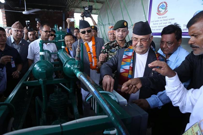 Dream come true as PM Oli inaugurates piped bio-gas project