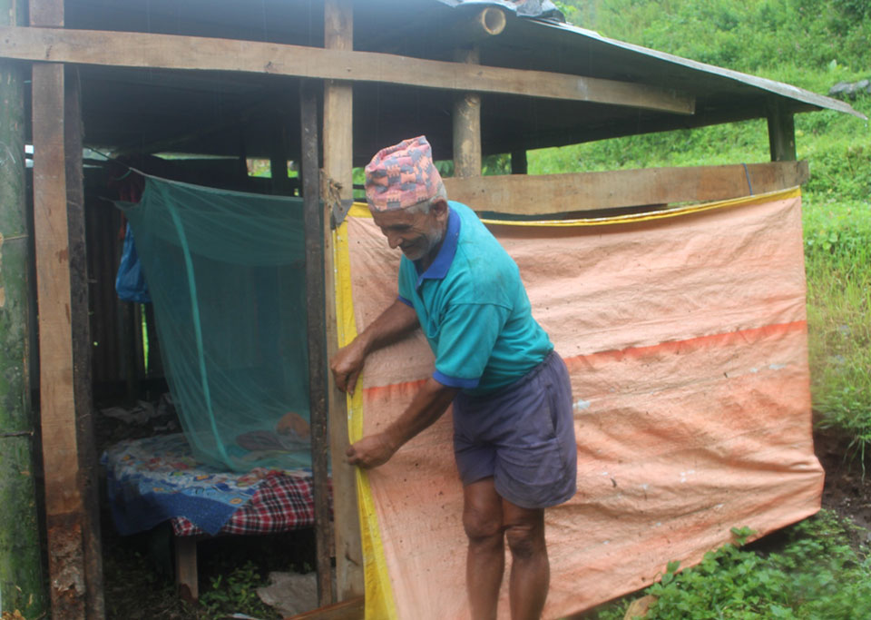 Landslide in newly built quake resistant house, again back to temporary shelter