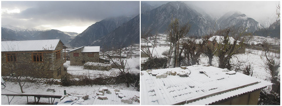 Snowfall affects life in Humla