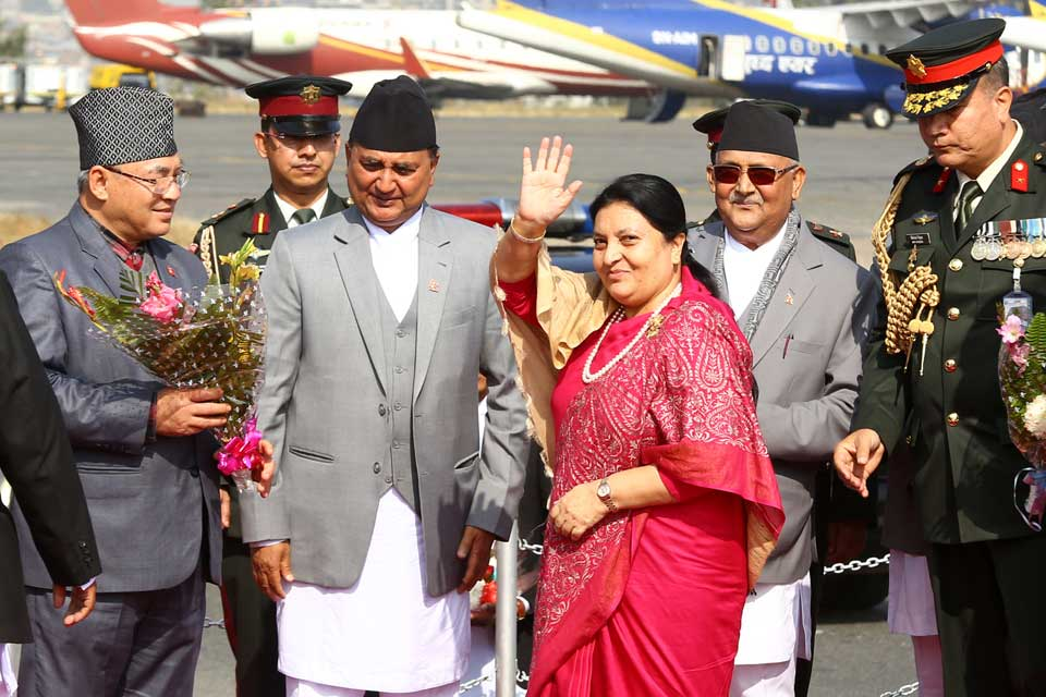 President Bhandari back home from Poland