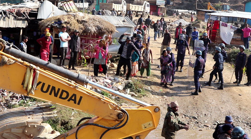 Locals protesting demolitions clash with police in West Rukum, 10 injured