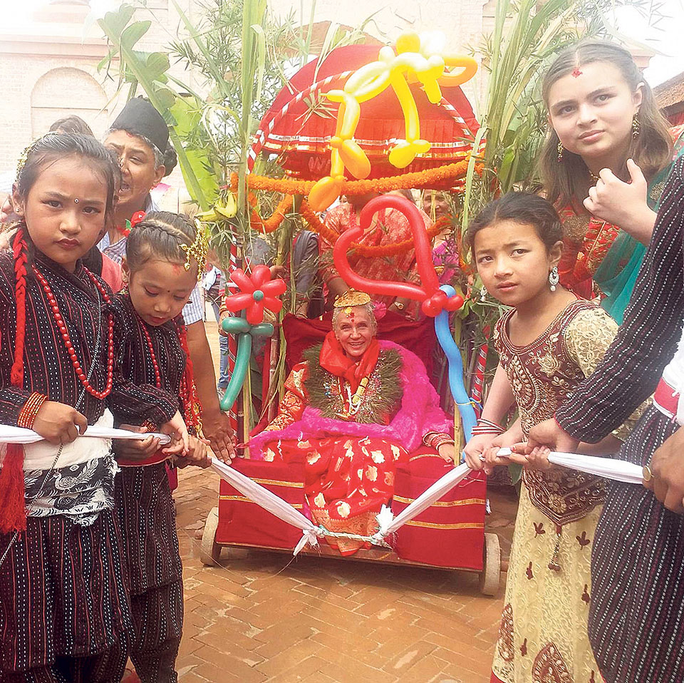 Foreigner celebrates Janku, a Newari's tradition of reaching old age