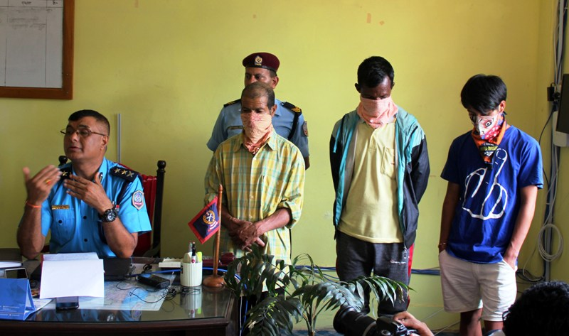 Three accused presented to media