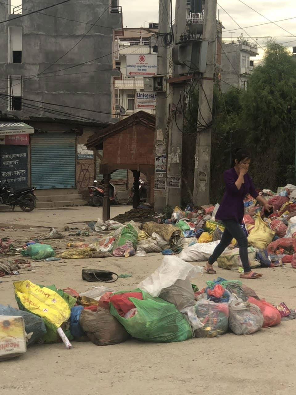 Cross roads stinking and disease outbreak looming in Kathmandu