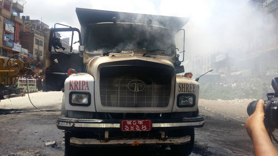 Motorcyclist killed, residents torch truck at Banepa