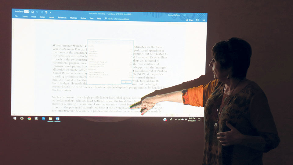 Carmen Renee Berry conducts a writing workshop in Kathmandu