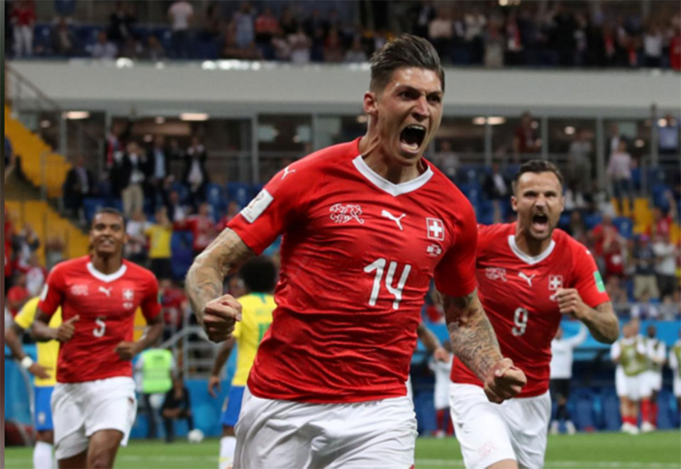 Swiss hold favorites Brazil after Coutinho stunner