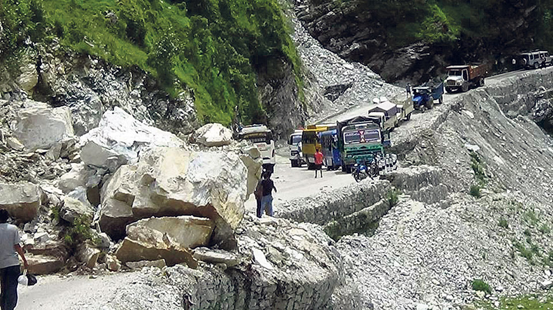 Landslides obstruct highways