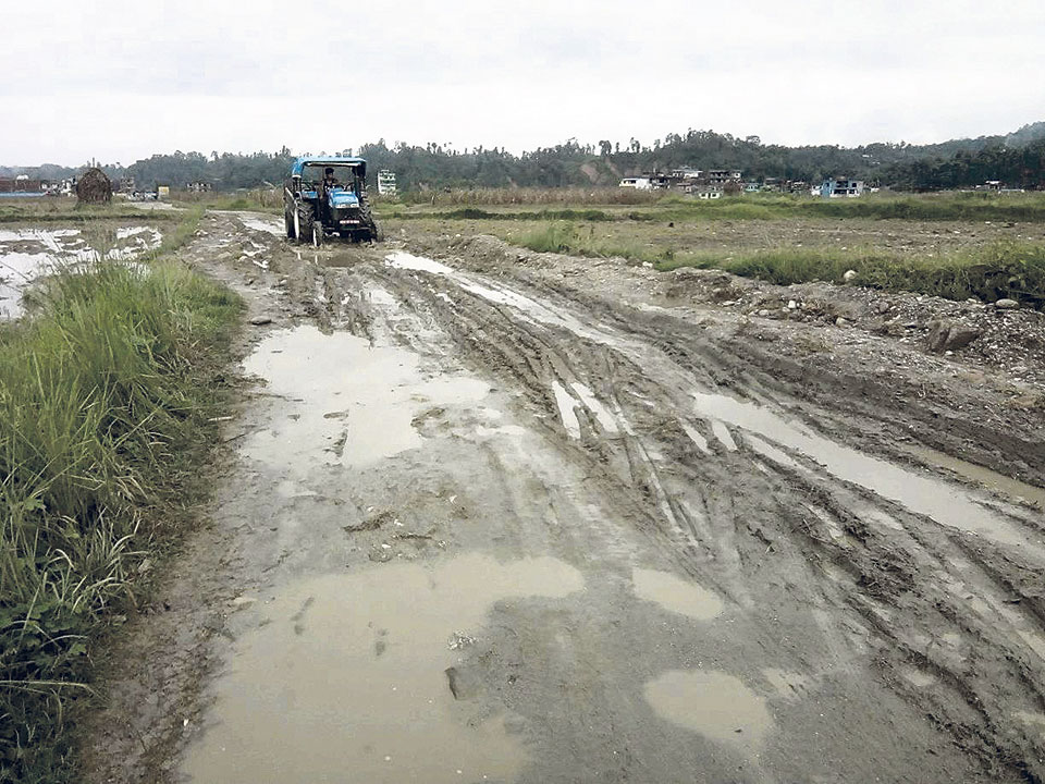 Locals suffer as roads turn into monsoon mud