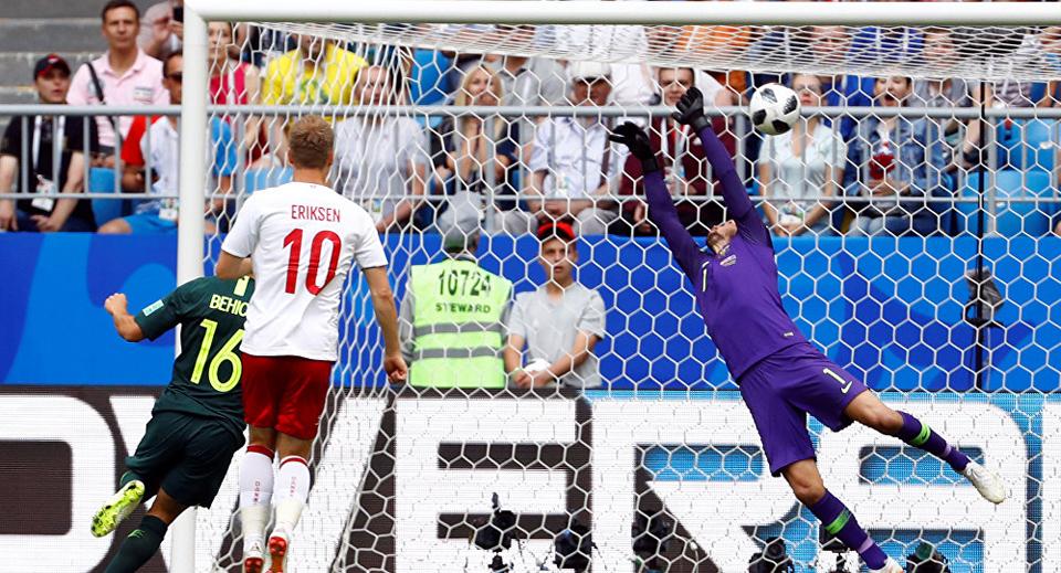 Denmark holds Australia with one goal each