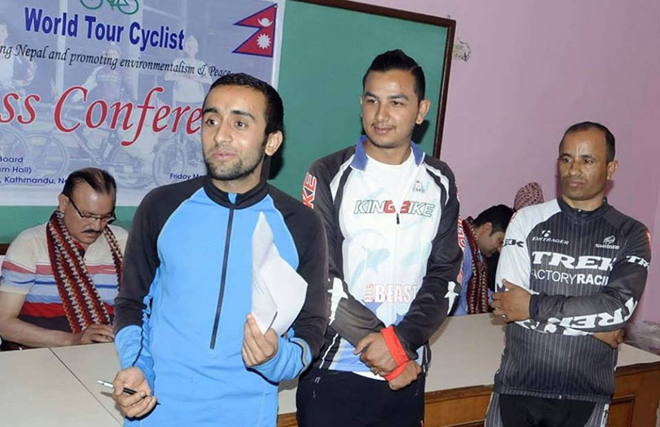 Three Nepalis tour 20 countries on bicycles with 'Nepal is safe after quake' message