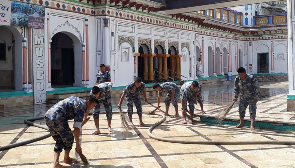 In pictures: APF cleanses Janaki temple ahead of Modi's visit