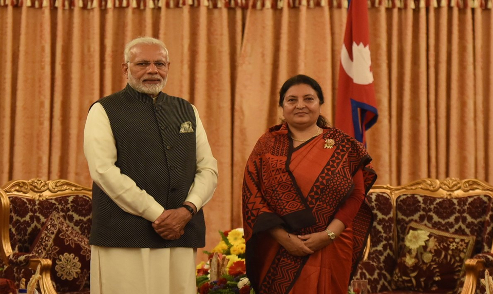 Indian PM Modi pays a visit to President Bhandari