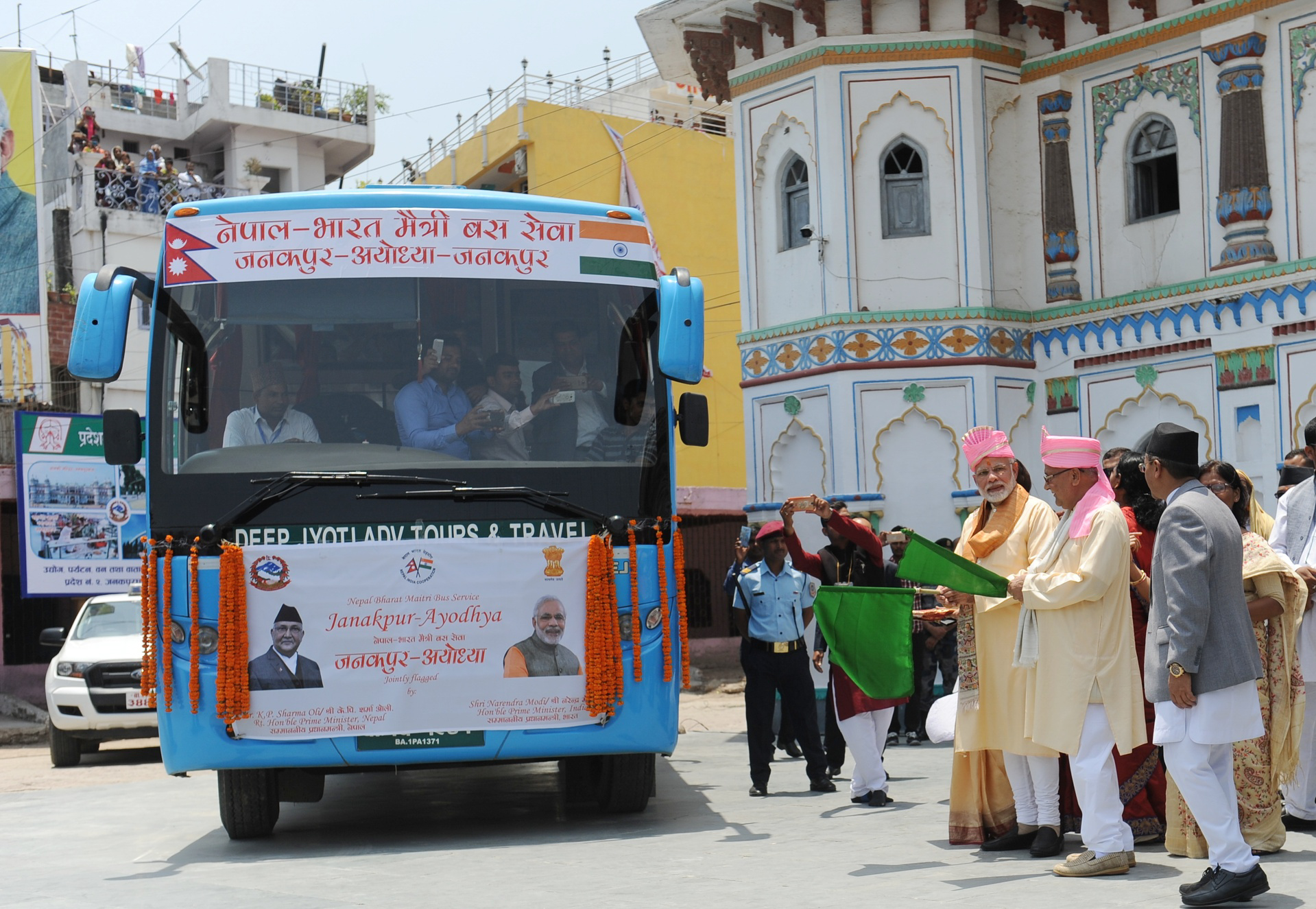 Indian CM welcomes flagged off bus from Janakpur at Ayodhya