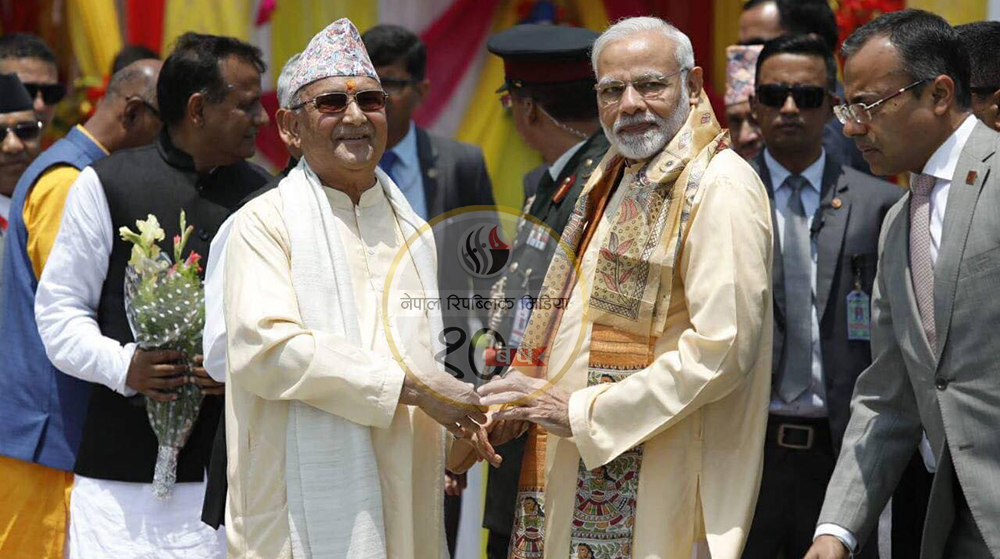 PM Oli welcomes Indian PM Modi in Janaki Temple