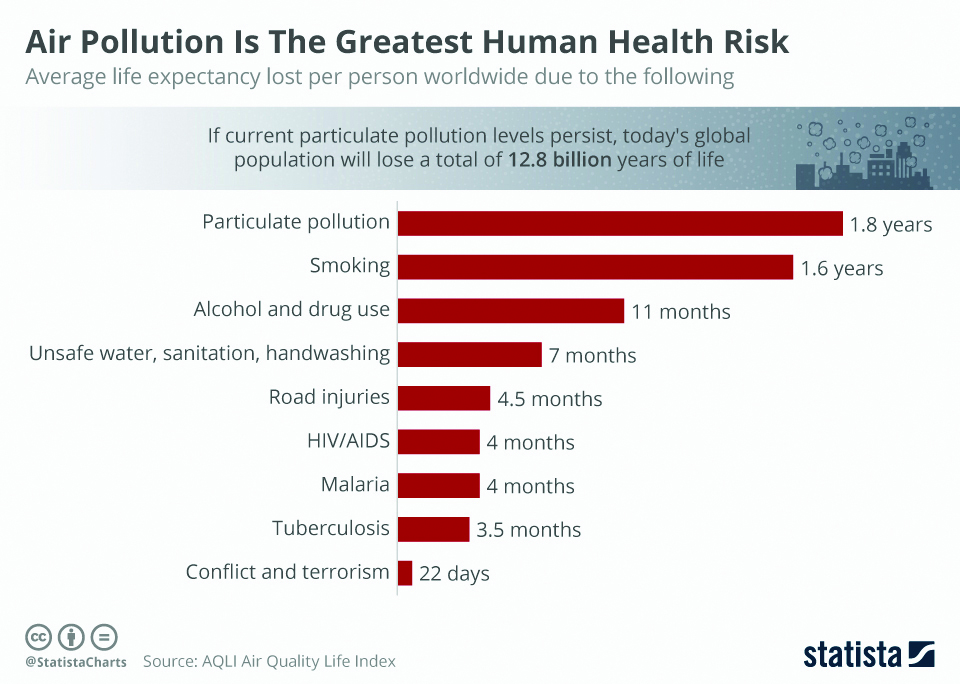 Infographics: Air pollution is the greatest human health risk