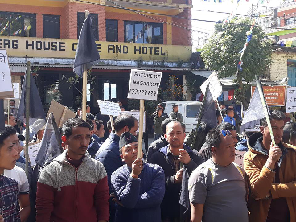 Locals of Nagarkot protest against local units for double taxation on tourists