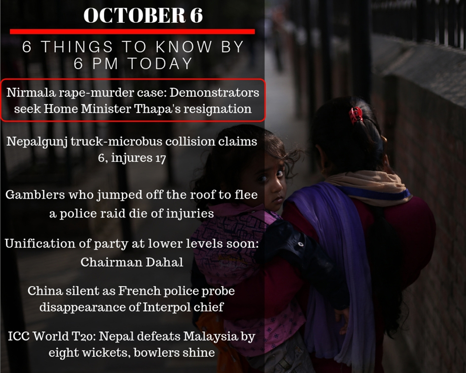 Oct 6: 6 things to know by 6 PM today