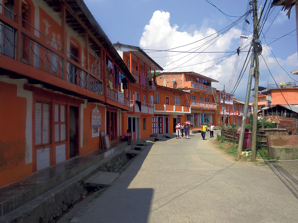 Locals unanimously paint their houses to form 'orange city'