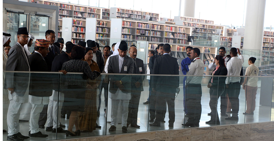 President Bhandari observes Qatar National Library