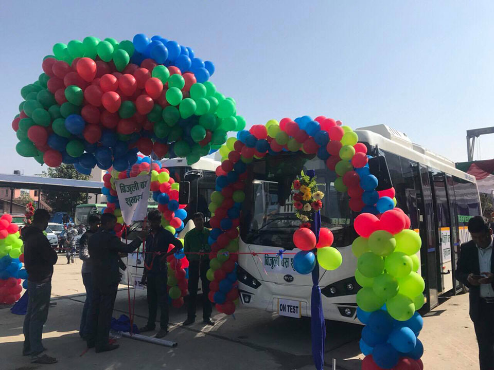 IN PICTURES: Sajha Yatayat introduces pollution-free electric bus service