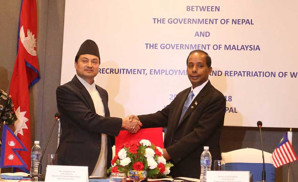 Nepal, Malaysia ink bilateral labor deal