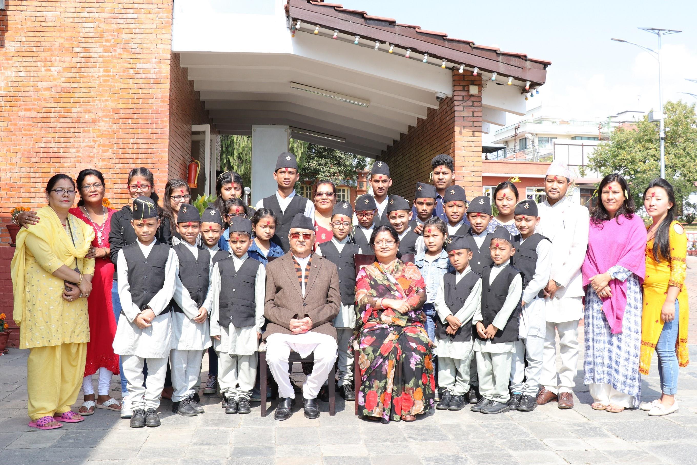 PM Oli offers Dashain Tika to HIV-infected 23 children