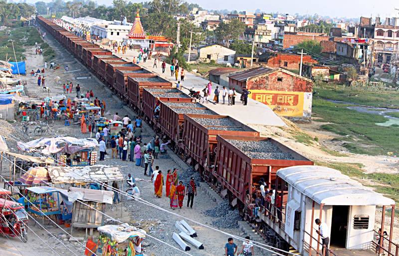 Freight train arrives in Janakpur from India