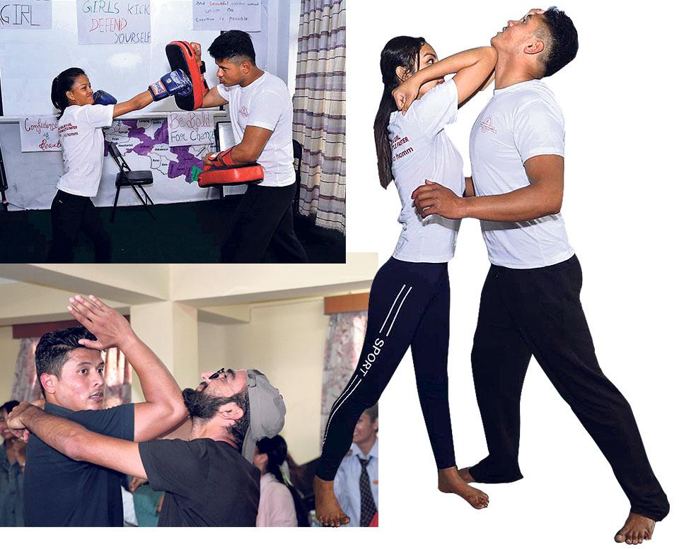 Girls kick for self-defense