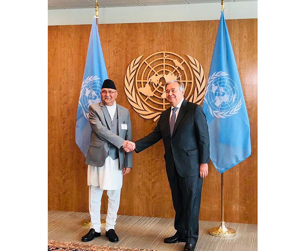 PM Oli, UN Secretary-General hold meeting