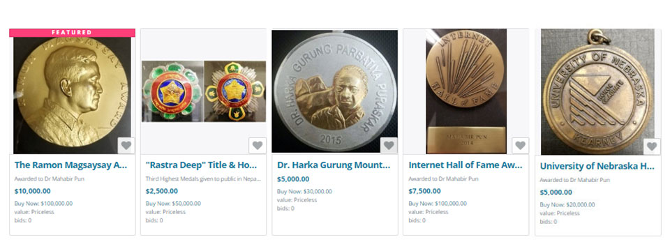 Mahabir Pun puts his medals for sale
