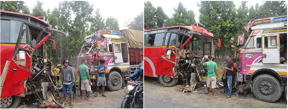 Two killed, 32 injured in road accident