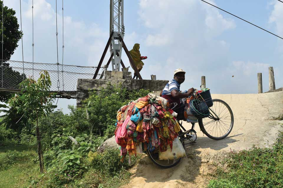 In lack of a motorable bridge, a village cut off from the outer world