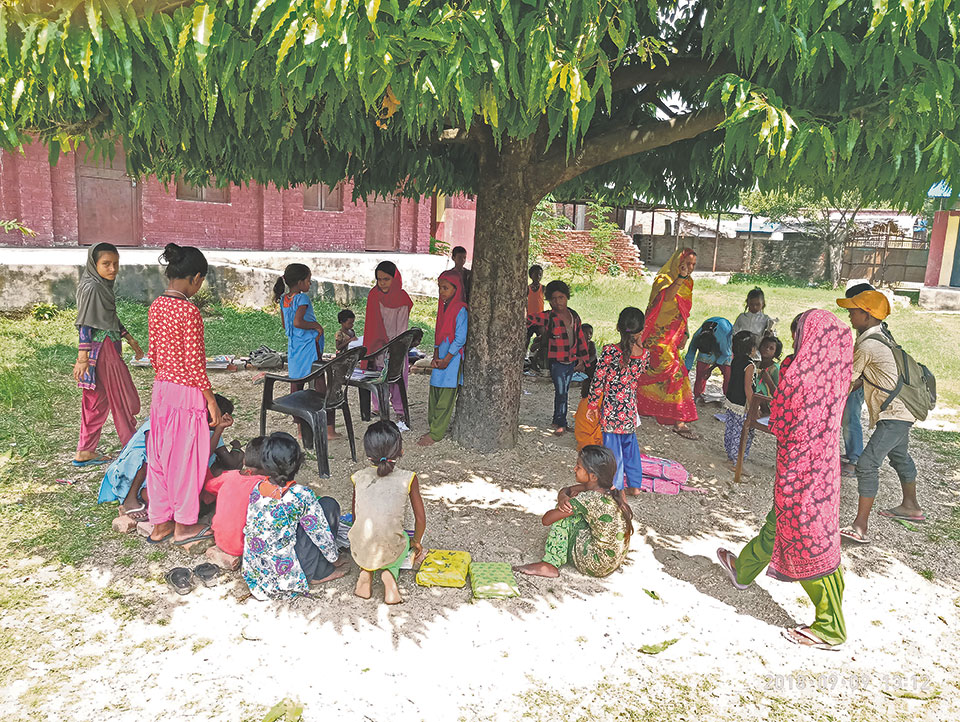 Principal rents out classrooms forcing students to study under a tree