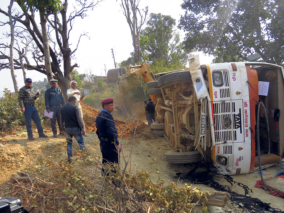 Two dead, several injured in Ramechhap bus accident
