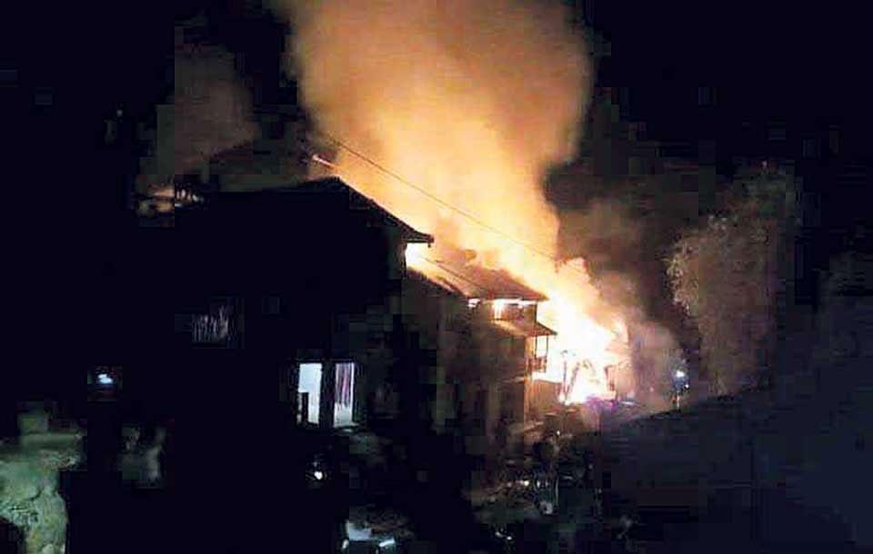 Hotel catches fire in Gosaikunda rural municipality