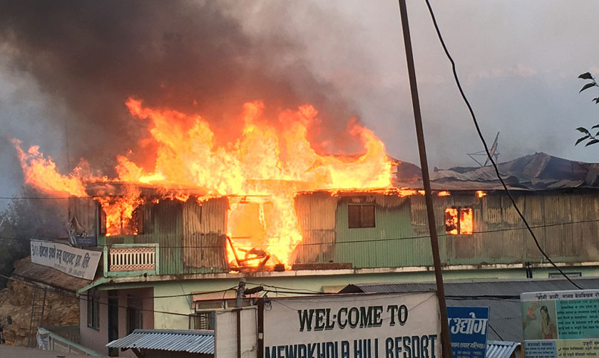 Fire engulfs hotel at Taplejung