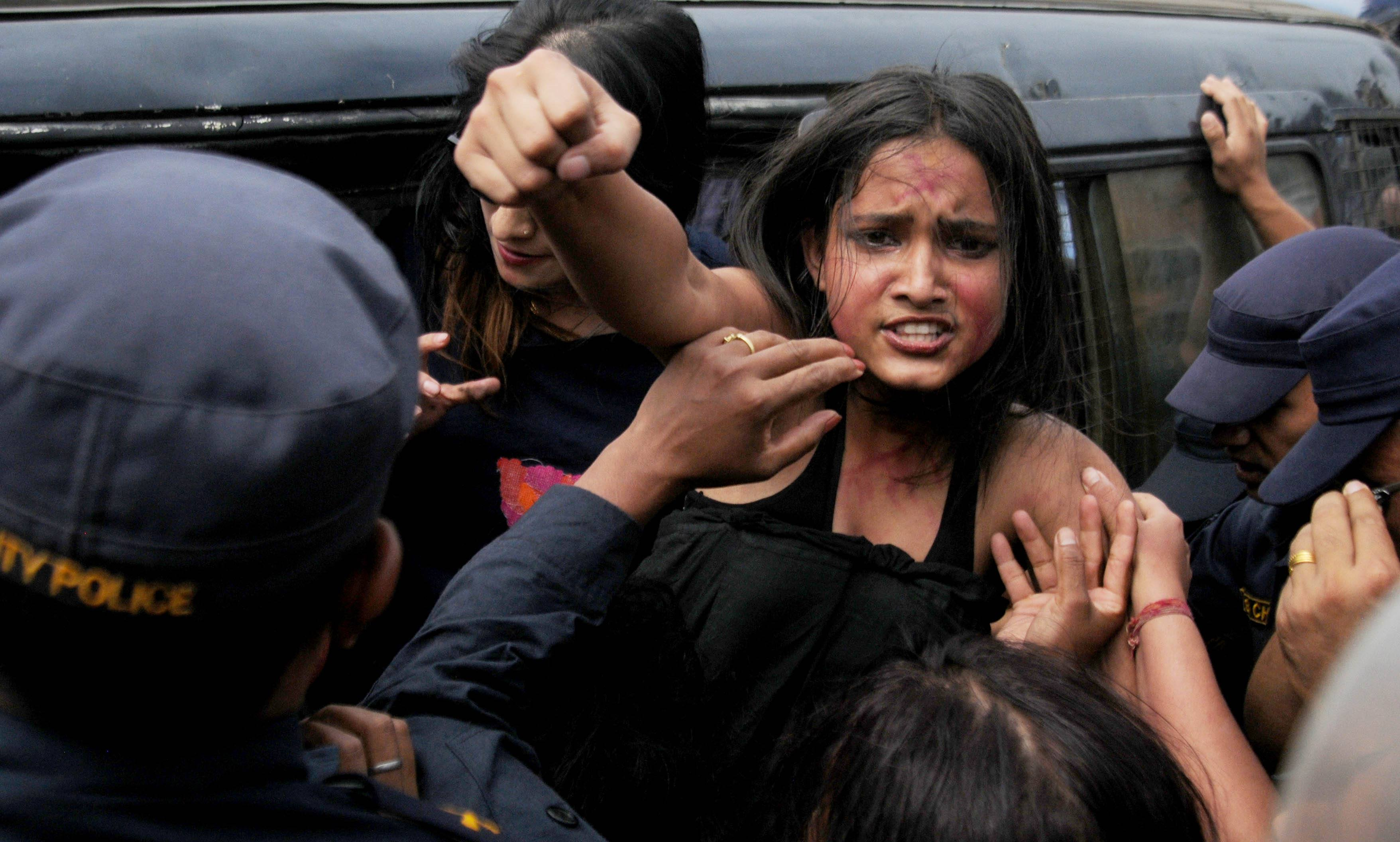 Partially naked women activists stage demo against rape