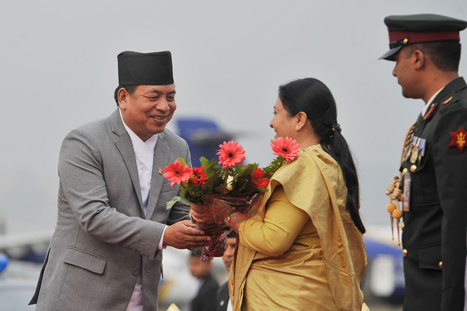 President Bhandari returns home from China