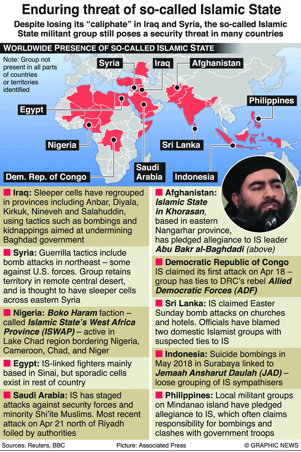 Infographics: So-called Islamic State still a threat in many countries