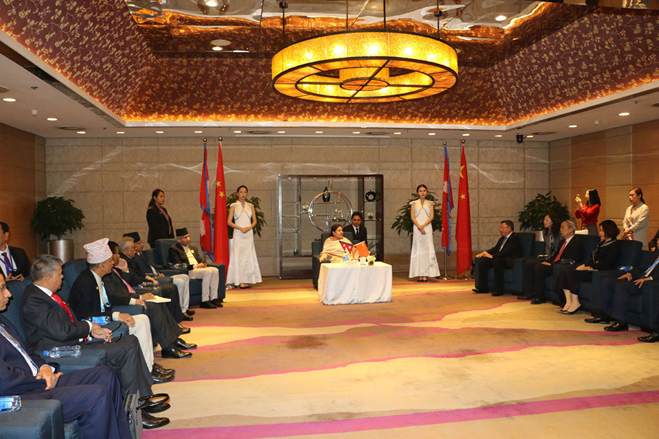 Chair of China Commercial Stock Enterprises calls on President Bhandari