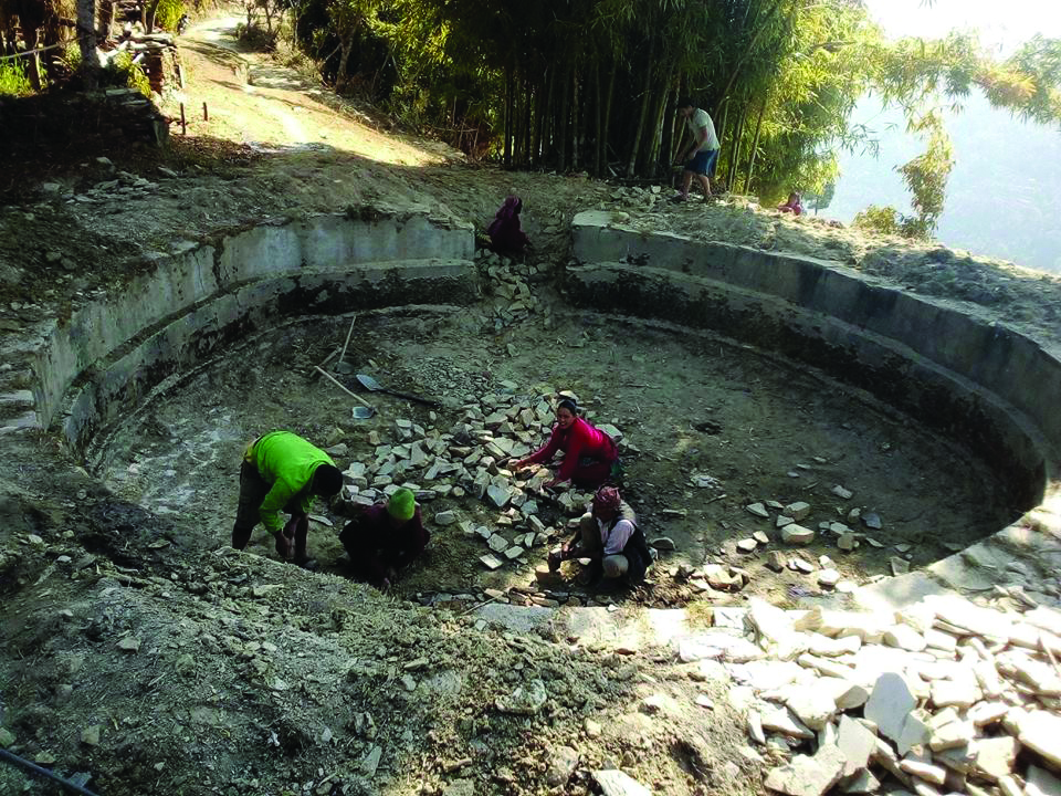 Pyuthan building water reservoirs to recharge natural water sources