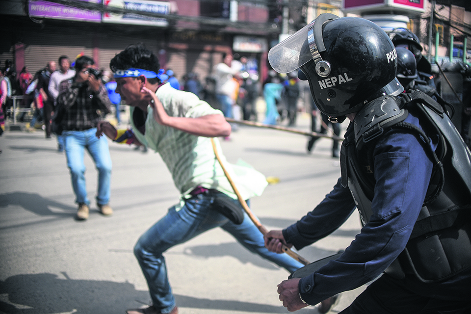 Police baton-charge RPP protestors in capital, detain 20 in Pokhara