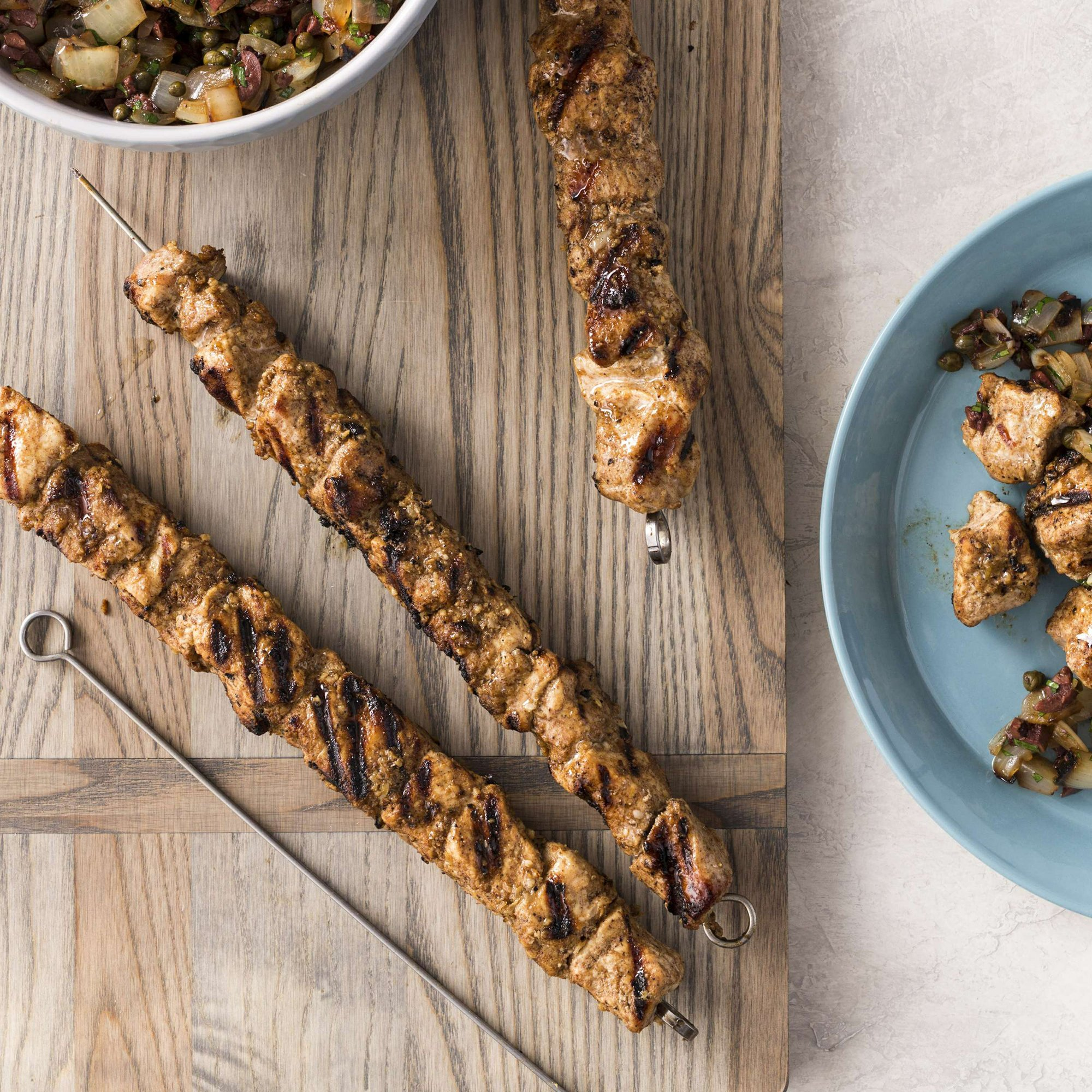 For moist grilled pork skewers, turn to country-style ribs