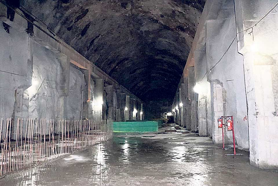 Penstock pipe installation in lower vertical shaft from May 5