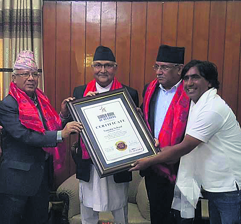 PM Oli, former PMs Dahal and Nepal hand over dubious certificate