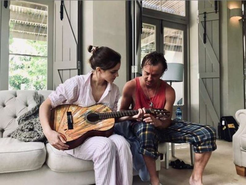 Tom Felton gives guitar lessons to 'quick learner' Emma Watson